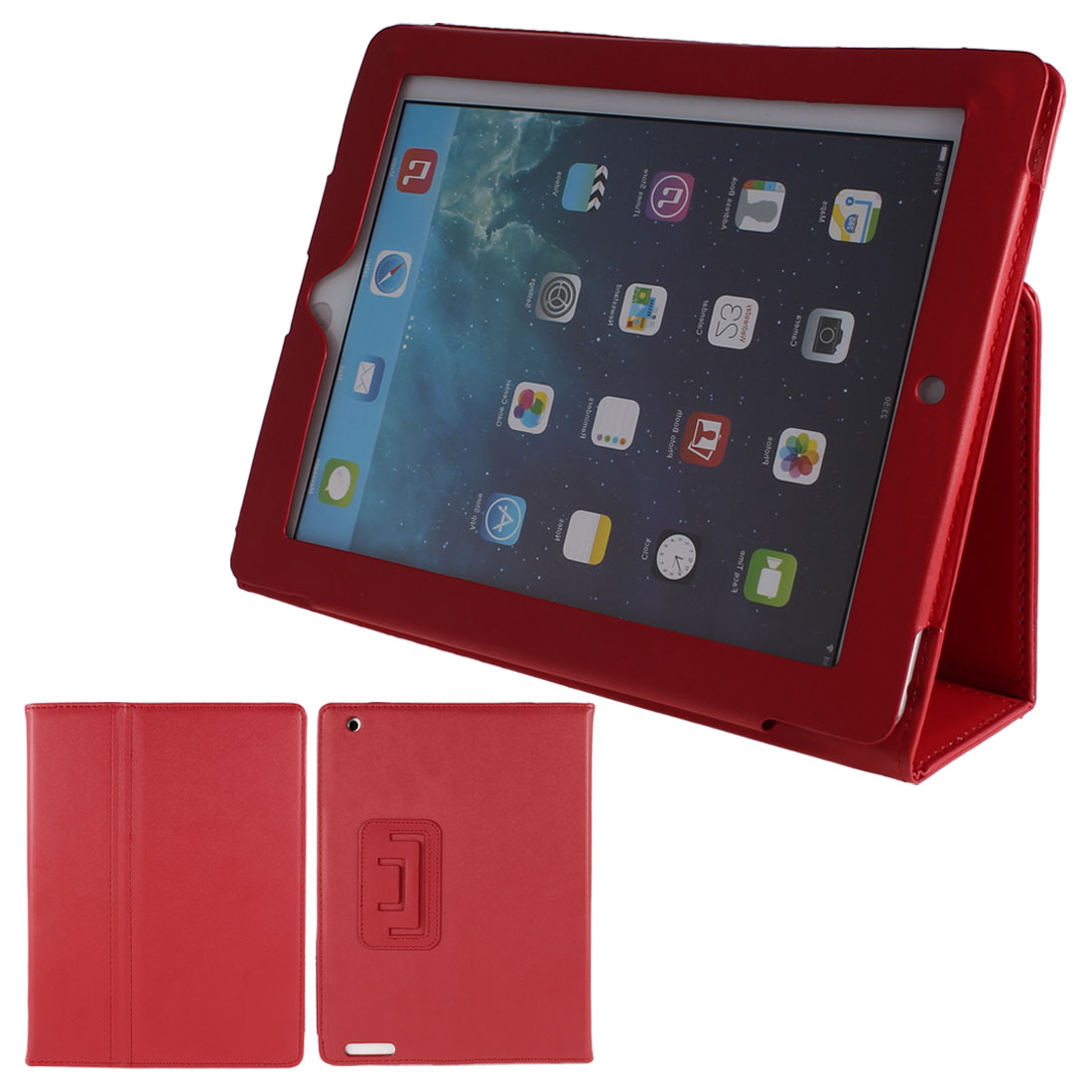 Red Litchi Print PU Leather Flip Stand Case Smart Cover for iPad 2 3