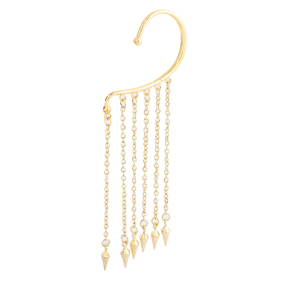 Gold Tone Punk Skull Purl Ear Cuff Chain Tassels Dangle Clip Earring