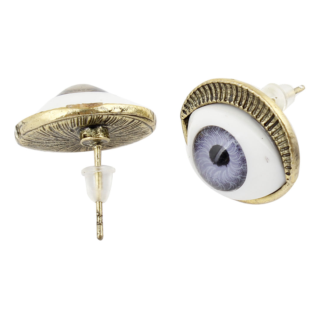 Pair White Bronze Tone Eye Shaped Ear Pin Stud Earrings for Women