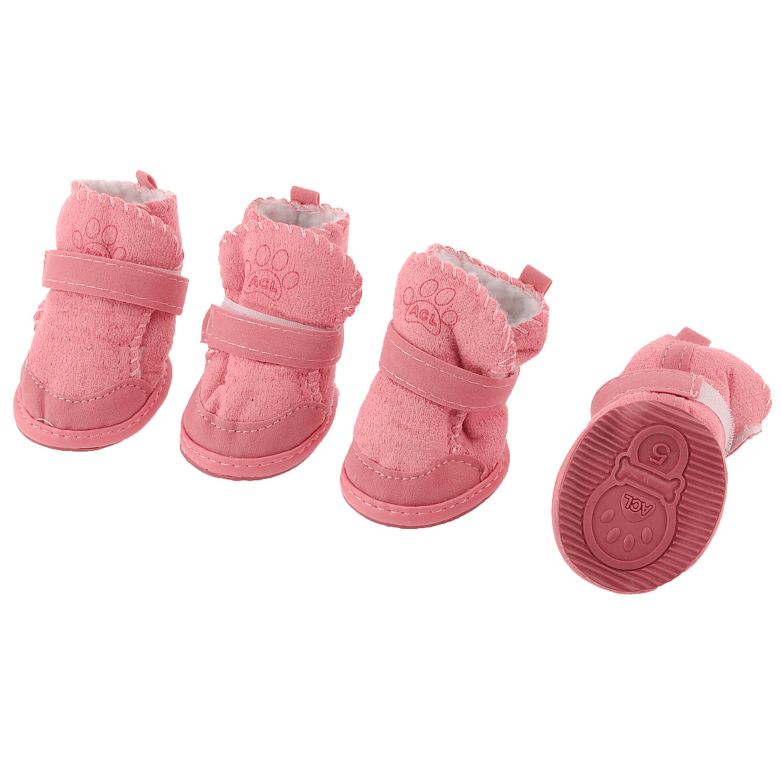 2 Pairs Pink Winter Warm Paw Pattern Detachable Closure Pet Dog Puppy Shoes S