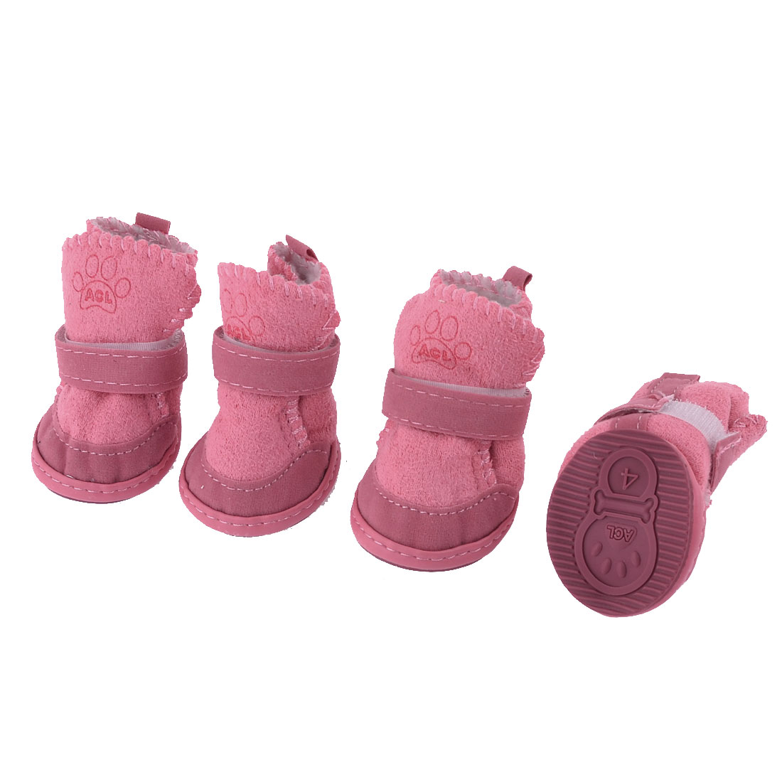 Pet Dog Winter Walking Paw Print Detachable Closure Shoes Boots Pink Size 4 2 Pairs