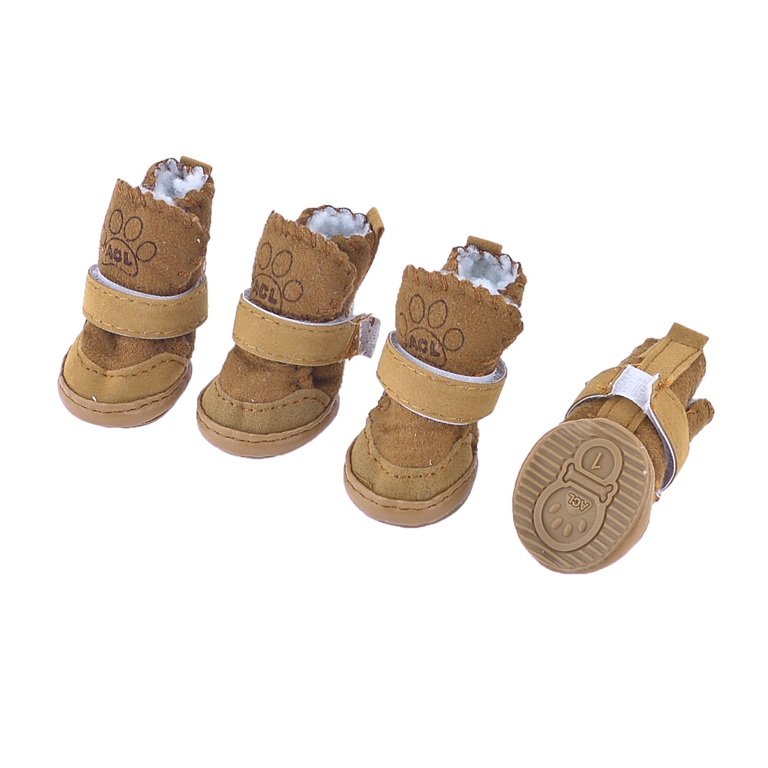 2 Pairs Brown Winter Warm Paw Pattern Pet Dog Yorkie Shoes Boots Booties Size XXS