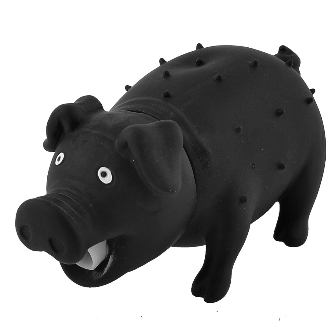 Black Pig Shaped Pet Doggie Dog Cat Chew Training Squeaky Sounding Toy