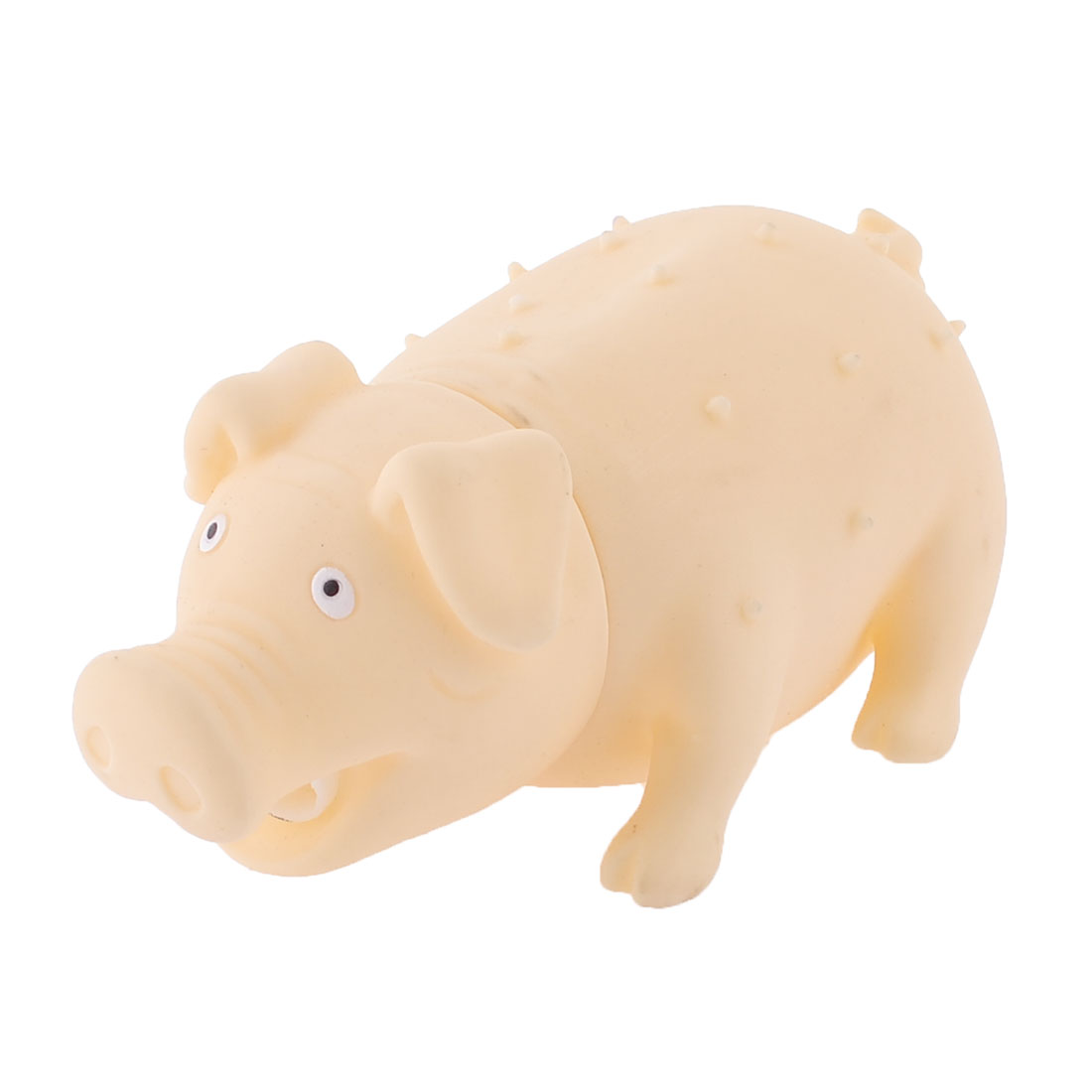Textured Pig Design Squeaky Chew Playing Toy Beige for Pet Dog Puppy