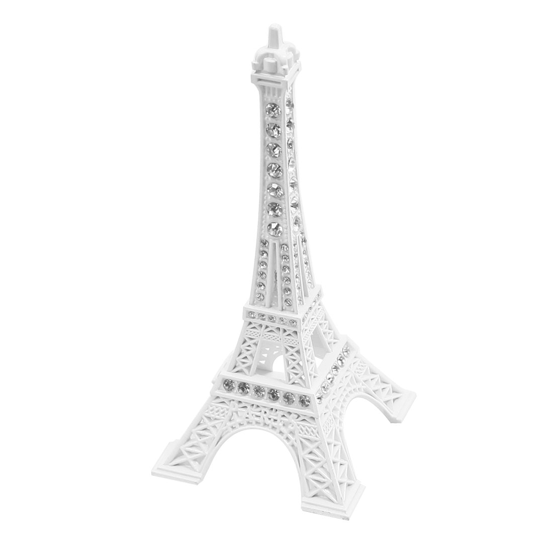 Clear Rhinestone Detail Eiffel Tower Construction Model White