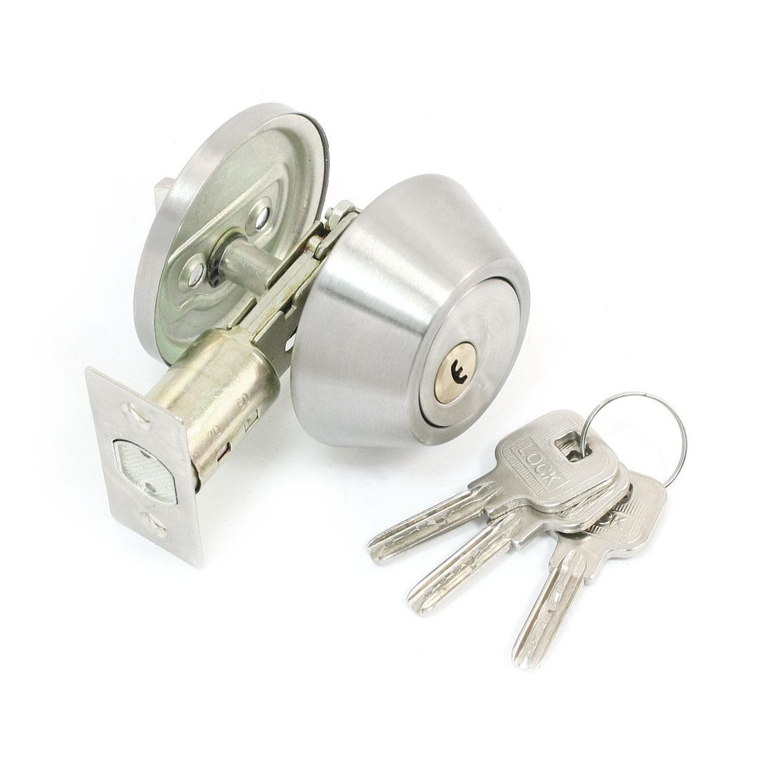 Door Locker Key Locking Silver Tone Lockable Lock w Three Keys
