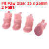 Pet Dog Paw Pattern Detachable Closure Shoe Winter Warm Boot Pink 2 Pairs