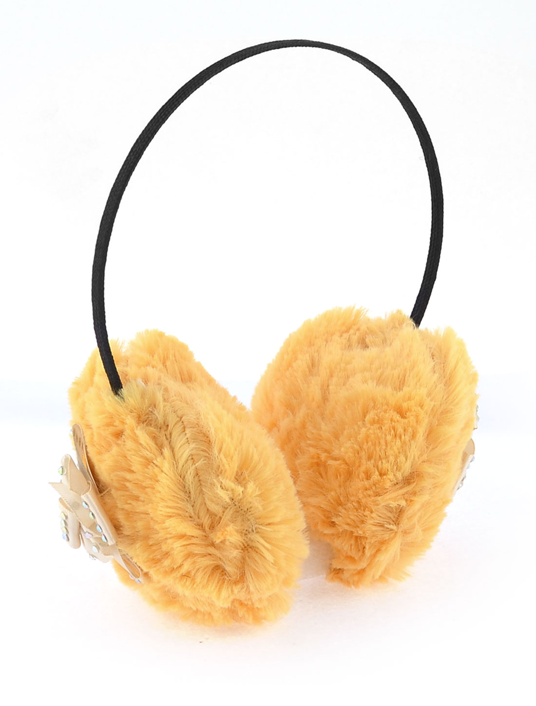 Women Beige Bowknot Detail Pad Ear Cover Muffs Earwarmers Earmuffs Yellow