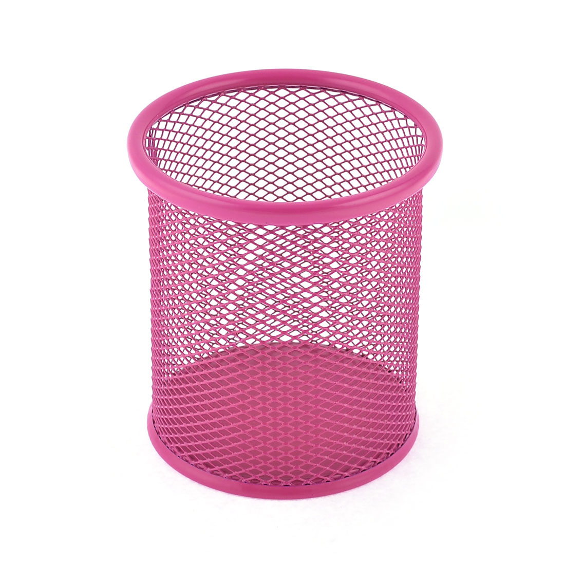 Cylinder Shaped Pen Mesh Holder Container Desktop Decor Fuchsia 9cm Dia