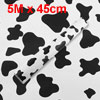 5M x 45cm Cow Pattern White Black PVC Wallpaper Wall Paper Sticker Roll