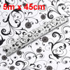 5m x 45cm Black Swirl Flower Print White PVC Wall Paper Sticker Roll