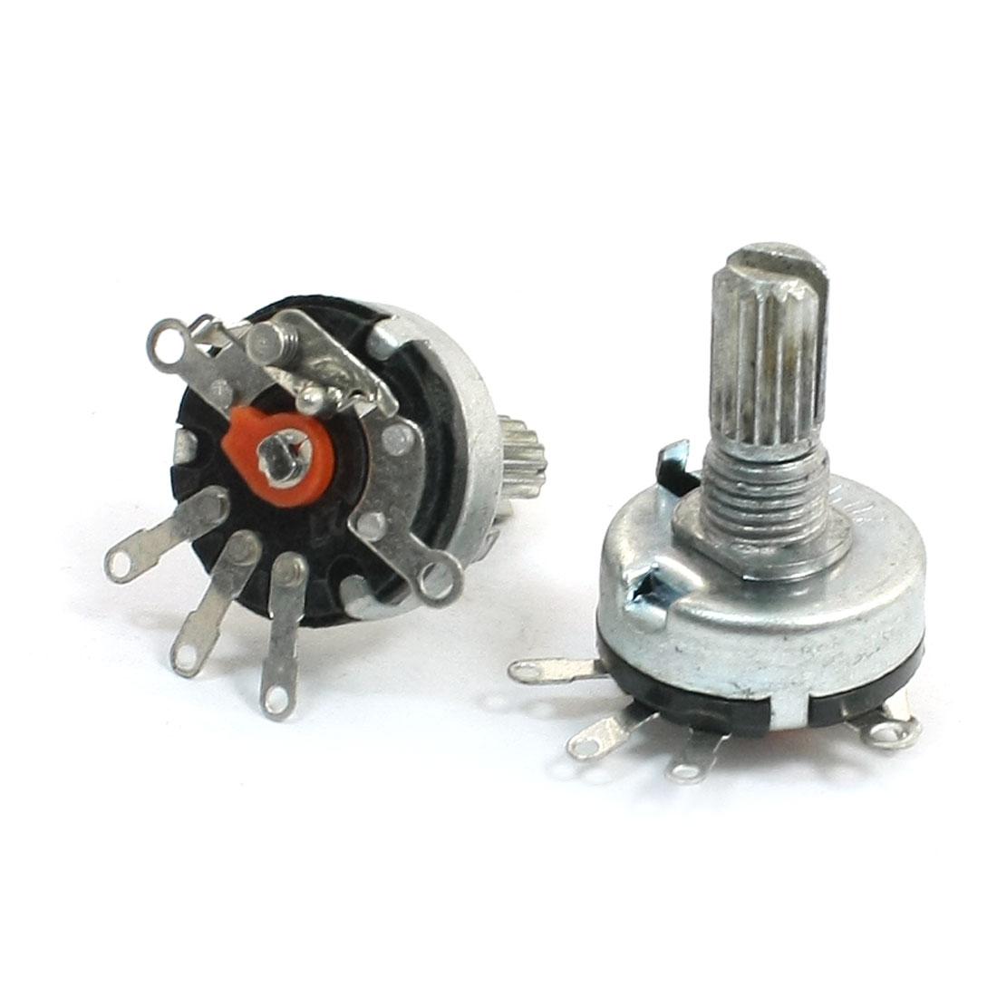 2pcs B50K 50K ohm 3 Terminals Variable Single Turn Taper Potentiometer