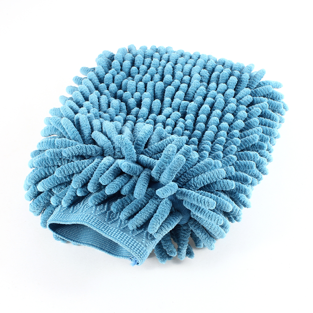 Elastic Cuff Double Sided Car Cleaning Mitt Glove Light Blue