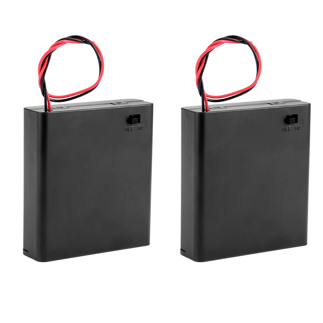 2 Pcs 4 x AA in Series = 6V Battery Holder Storage Case Wired ON/OFF Switch w Cover