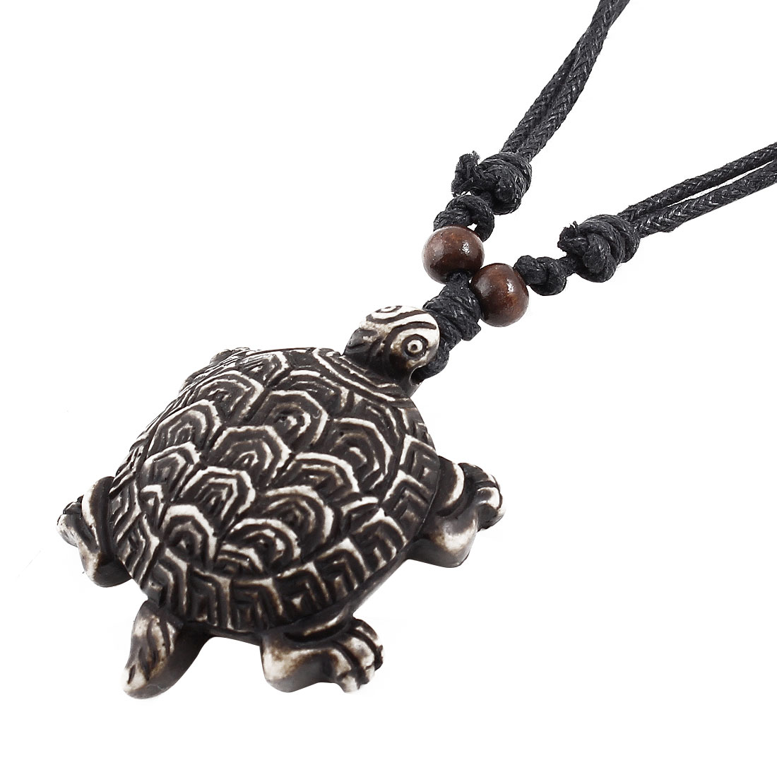 Black Nylon Cord Brown Tortoise Pendant Sweater Necklace for Lady Men