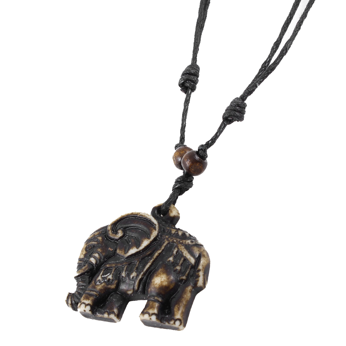 Black Nylon Cord Brown Elephant Pendant Sweater Necklace for Lady Men