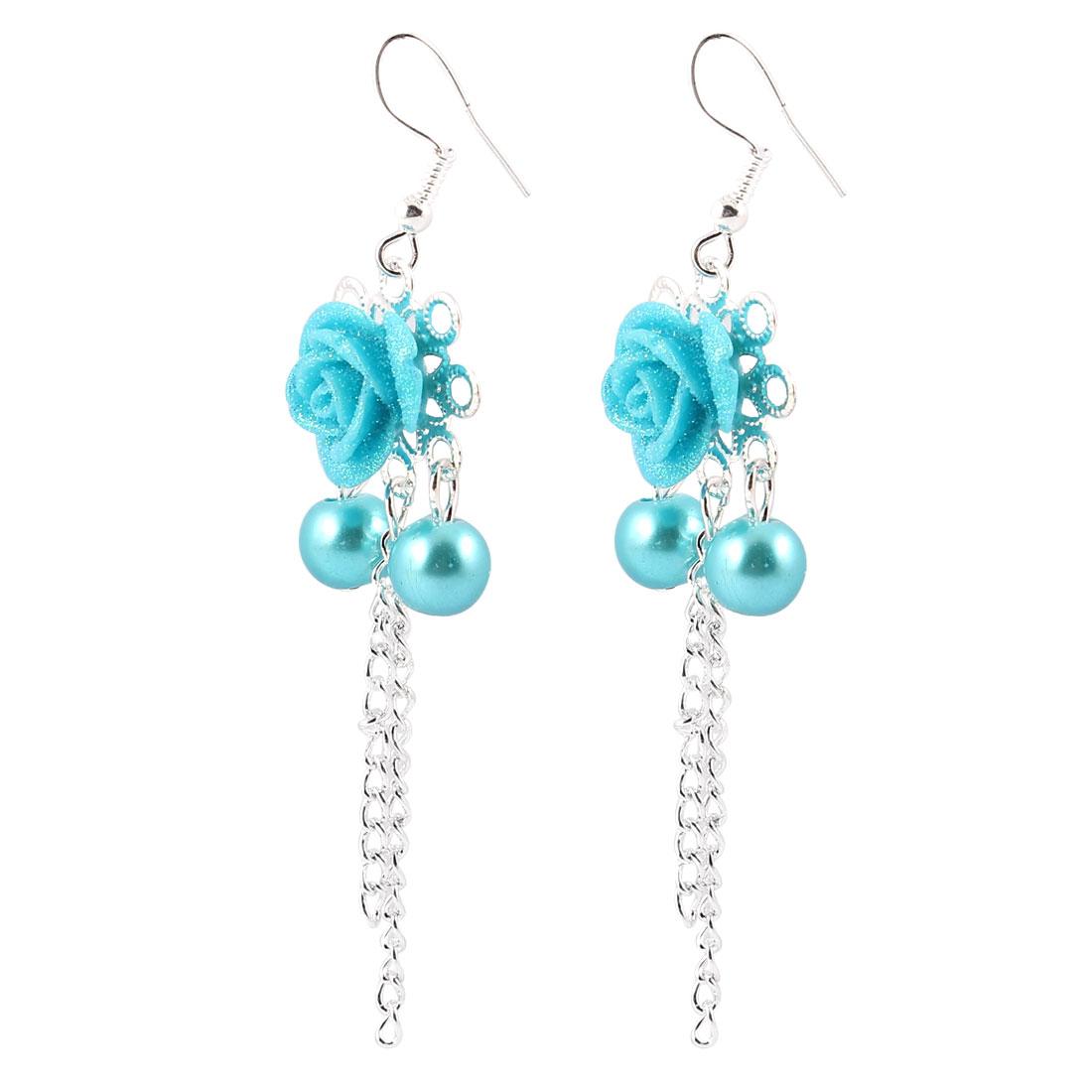 Pair Teal Blue Rose Cherry Shaped Pendant Fish Hook Earrings for Women