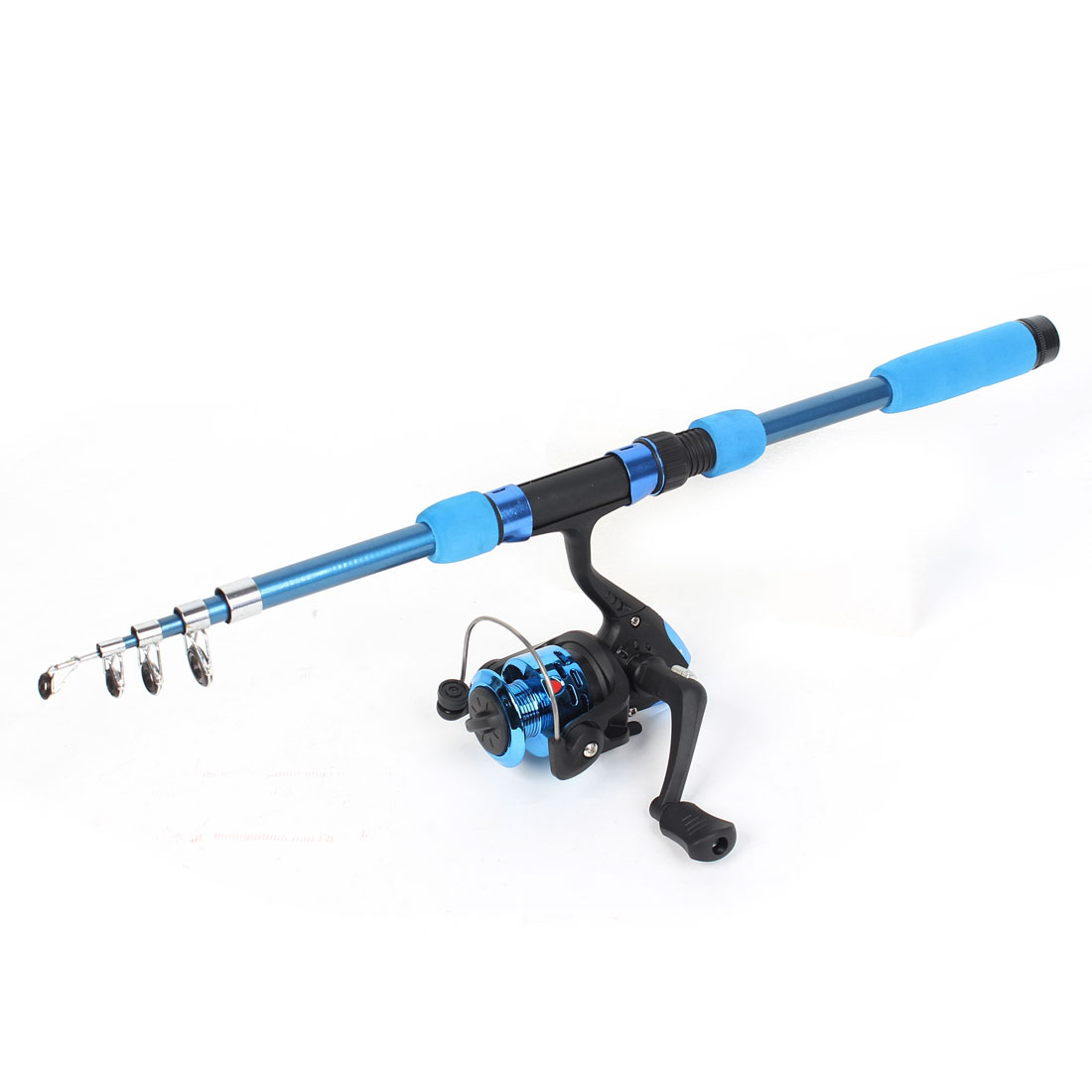 1.65M Length 5 Sections Retractable Fishing Rod w Fish Spinning Reel