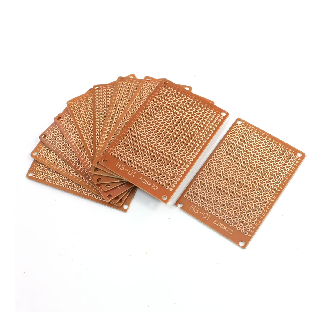 2.54mm Pitch PCB Board Prototype Breadboard Single Side 50mm x 73mm Brown 10Pcs