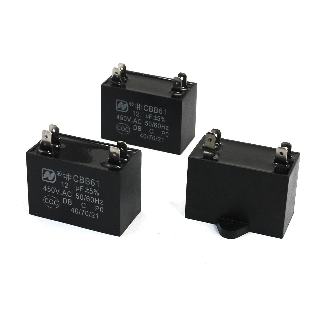 AC 450V 12uF 4 Pins Air Conditioner Motor Run Capacitor Black 3Pcs