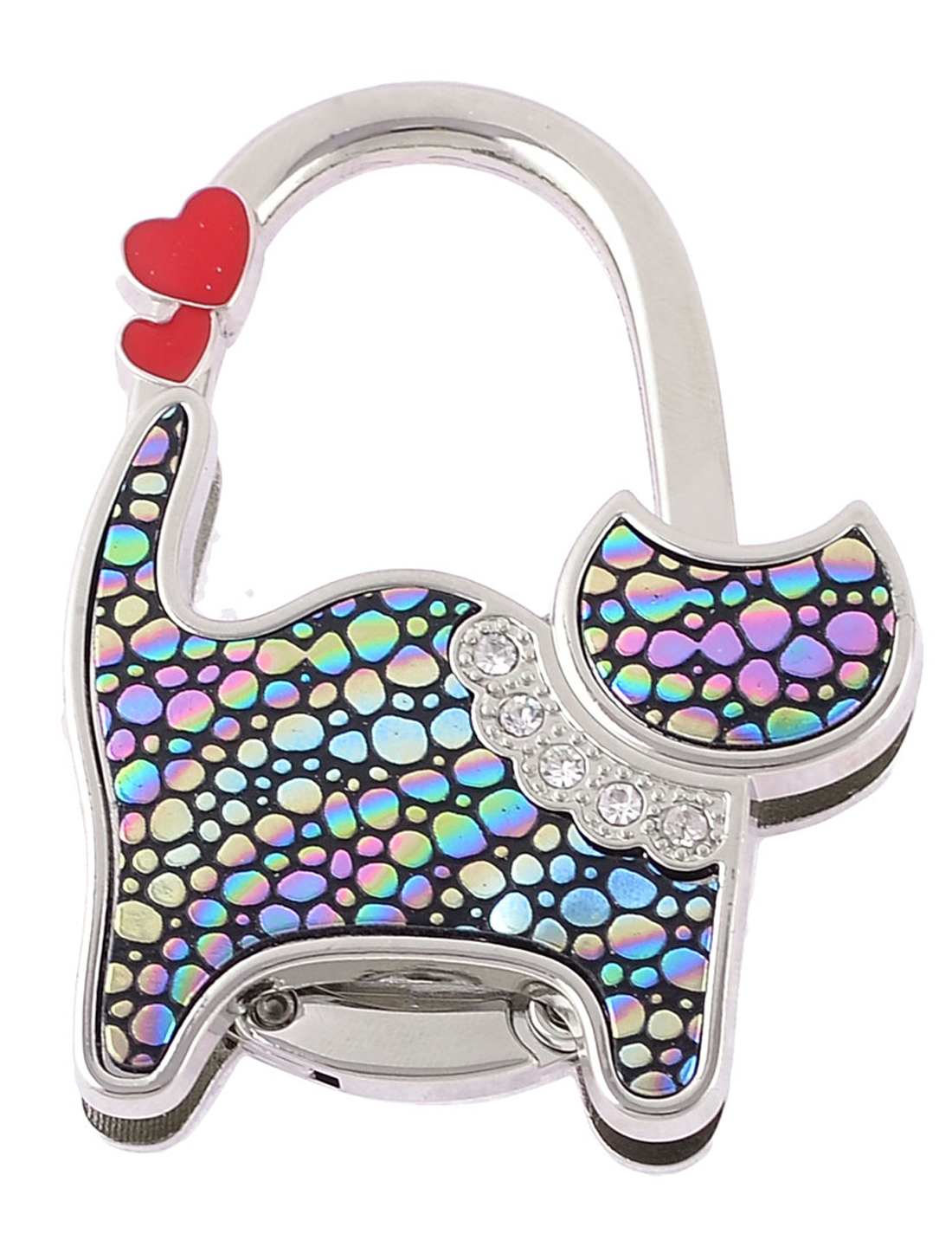 Silver Tone Heart Pattern Cat Shaped Folding Hand Bag Purse Hook Holder