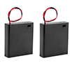 2 Pcs 4 x 1.5V AA Battery Holder Storage Case Wired ON/OFF Switch w Cover