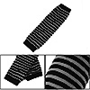 Pair Ladies Black Gray Stripes Print Knitted Elastic Hands Arm Warmers Gloves