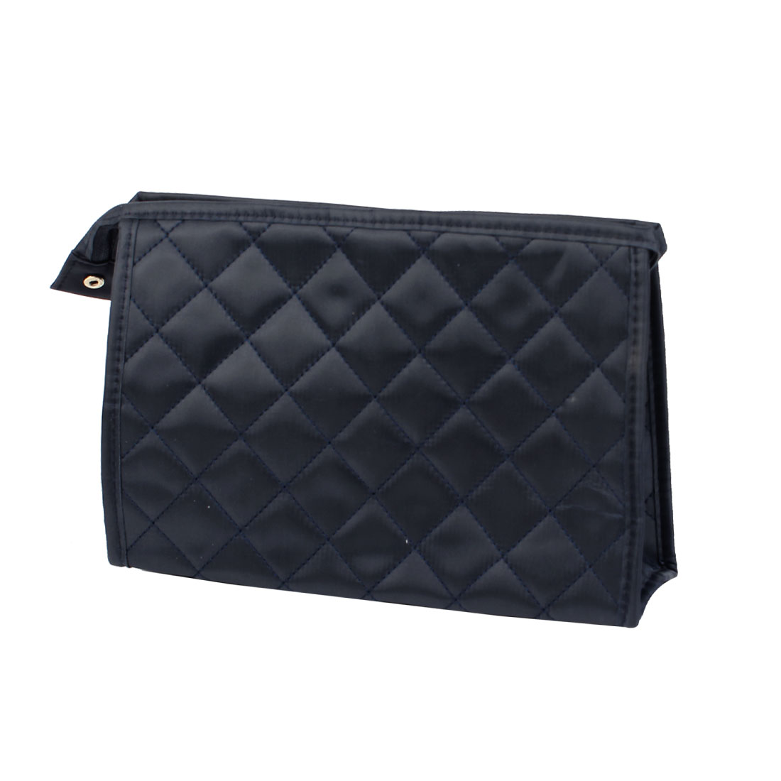Navy Blue Grids Design Zip Up Make Up Cosmetic Bag Organizer Pouch for Women