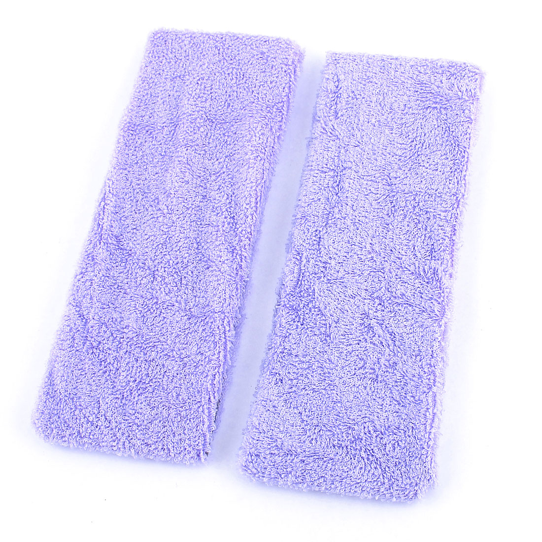 2 Pcs Pale Purple Gym Sports Terry Elastic Head Band Headband