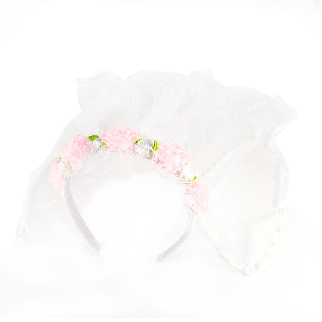 Flower Girl Pink Floral Detail Lace Double Layer Veil Headband Hair Band White