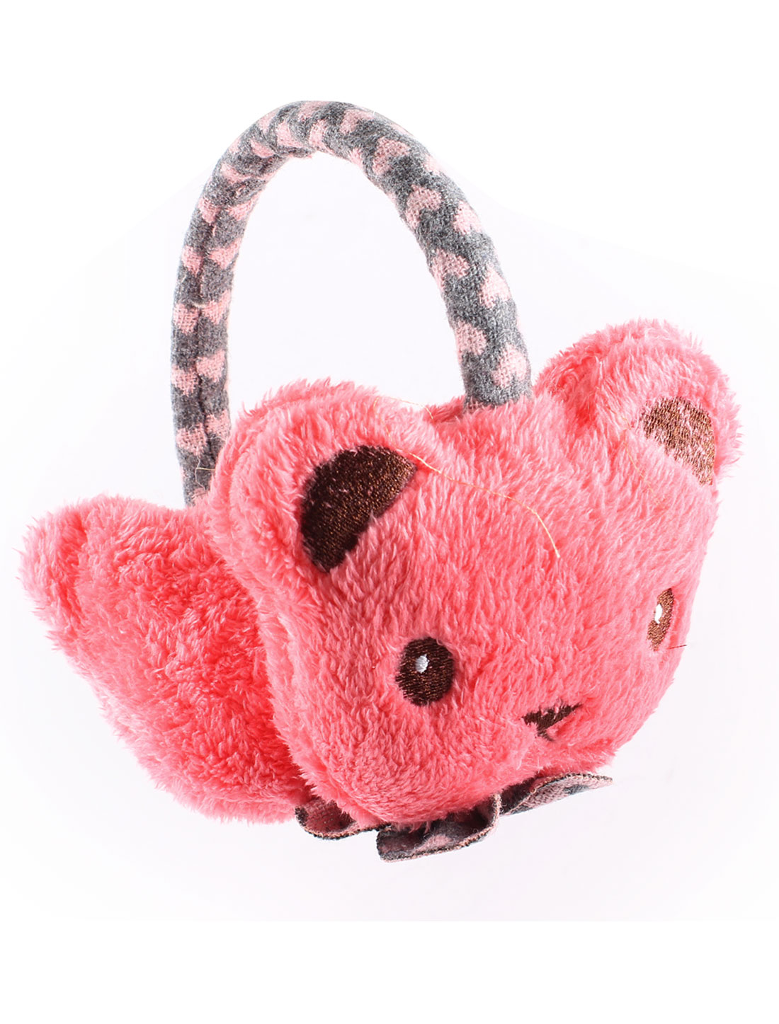 Hot Pink Soft Warm Plush Bear Face Design Pad Ear Warmer Earmuffs