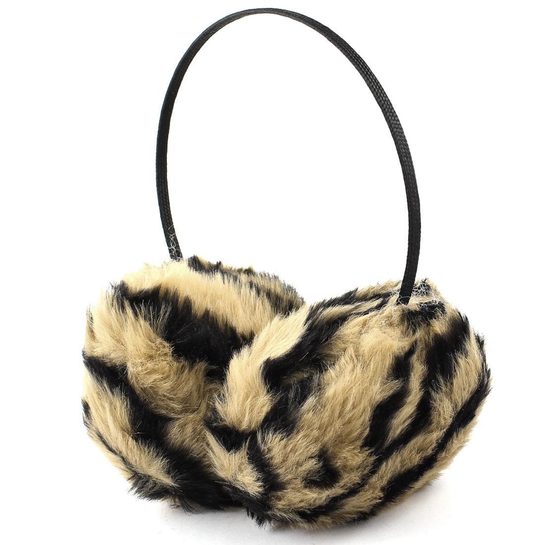 Fluffy Plush Pad Stripe Pattern Black Brown Ear Cover Earmuffs for Unisex