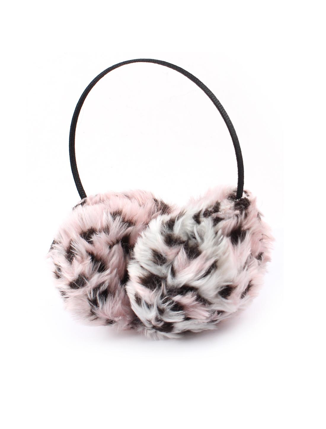 Lady Leopard Printed Plush Metal Headband Brown Pink Ear Warmer Earmuffs