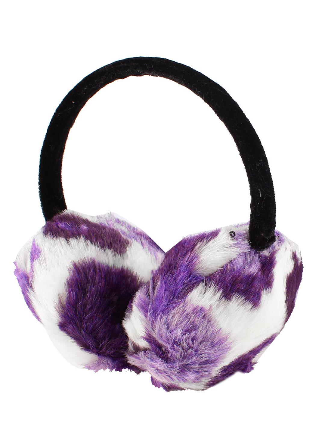 Girl Flower Pattern Pads Plastic Headband Ear Warmer Earmuffs Purple White