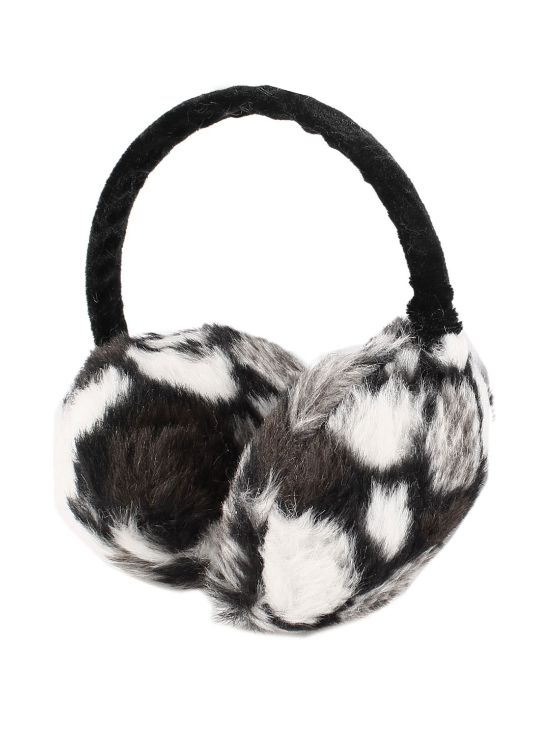 Girl Leopard Pattern Plush Fluffy Earlap Ear Warmer Earmuffs Tri Color