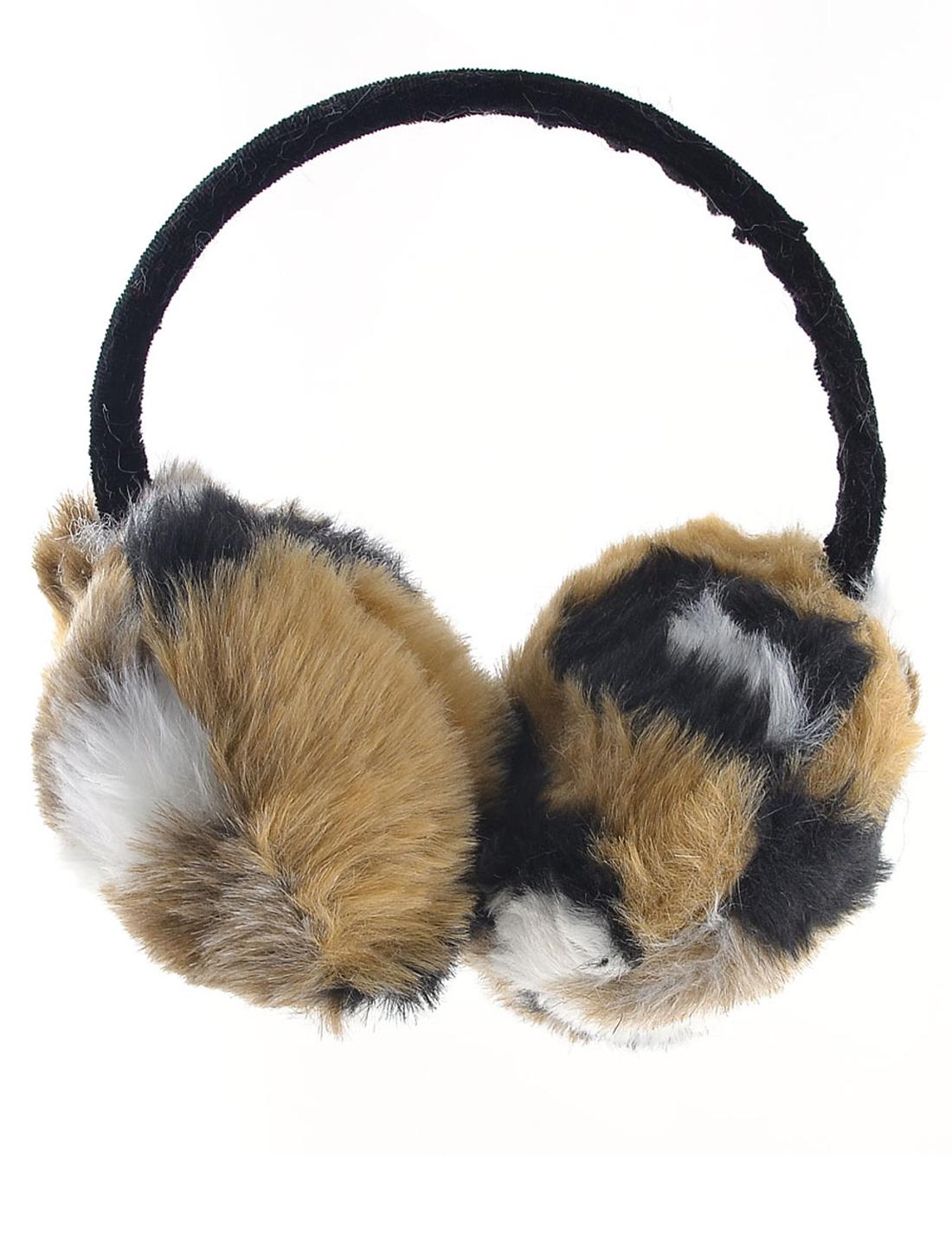 Brown White Black Plush Ear Winter Warmer Round Earmuffs for Lady Man