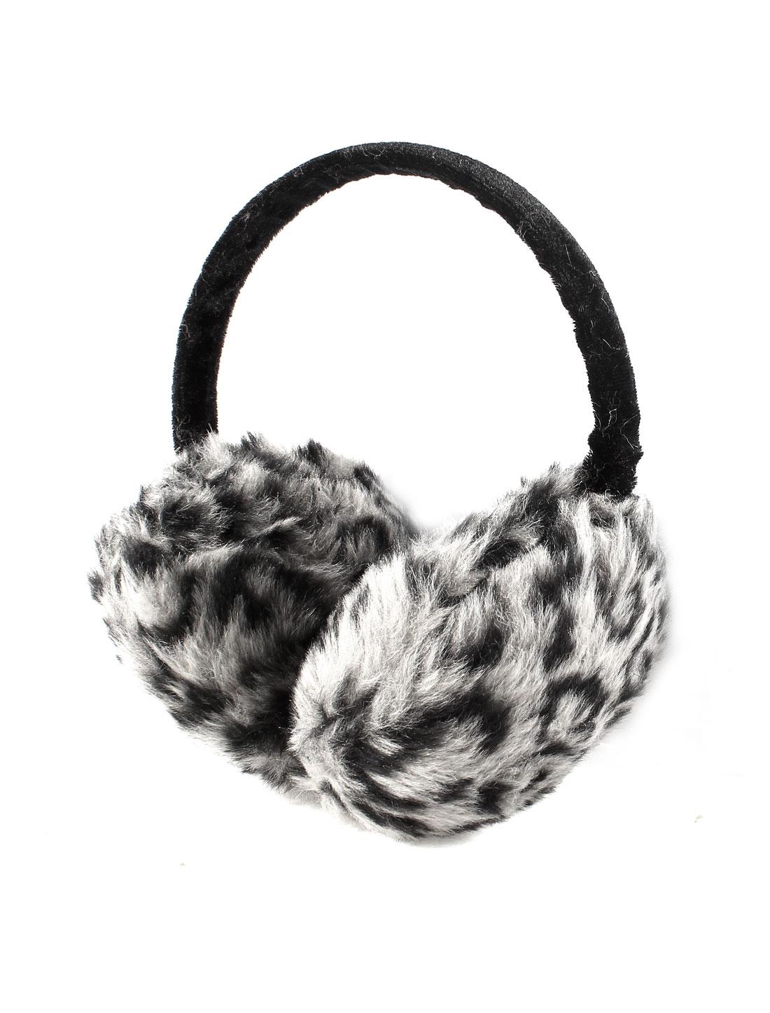 Unisex Adjustable Frame Leopard Prints Plush Black Gray Warmers Earmuffs
