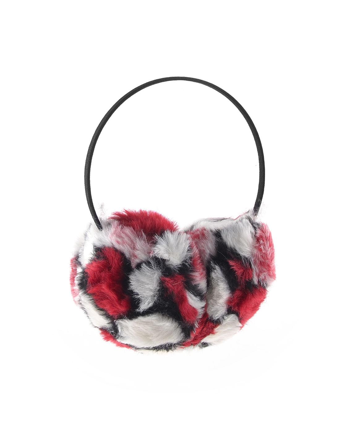 Red White Black Soft Plush Ear Winter Warmer Round Earmuffs for Lady Man