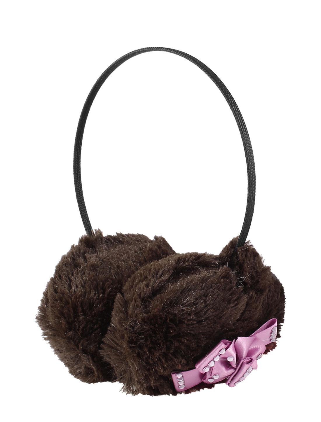 Girls Light Purple Bowknot Decor Pads Fluffy Ball Earmuffs Coffee Color
