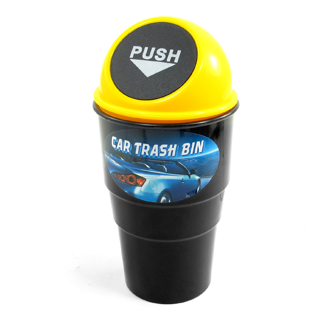 Car Office Home Plastic Garbage Trash Bin Can Holder Case Black Yellow