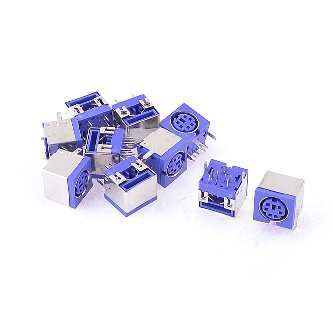 10 x Metal Cover 6P DIN PS/2 Mouse Keyboard PCB Socket Connector Indigo Blue