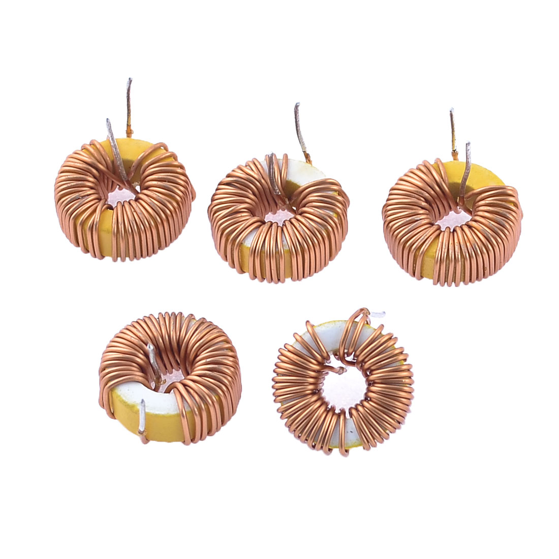 5 Pcs Brass Tone Coil Wired 10mm Outer Dia Toroid Core Inductor 60uH