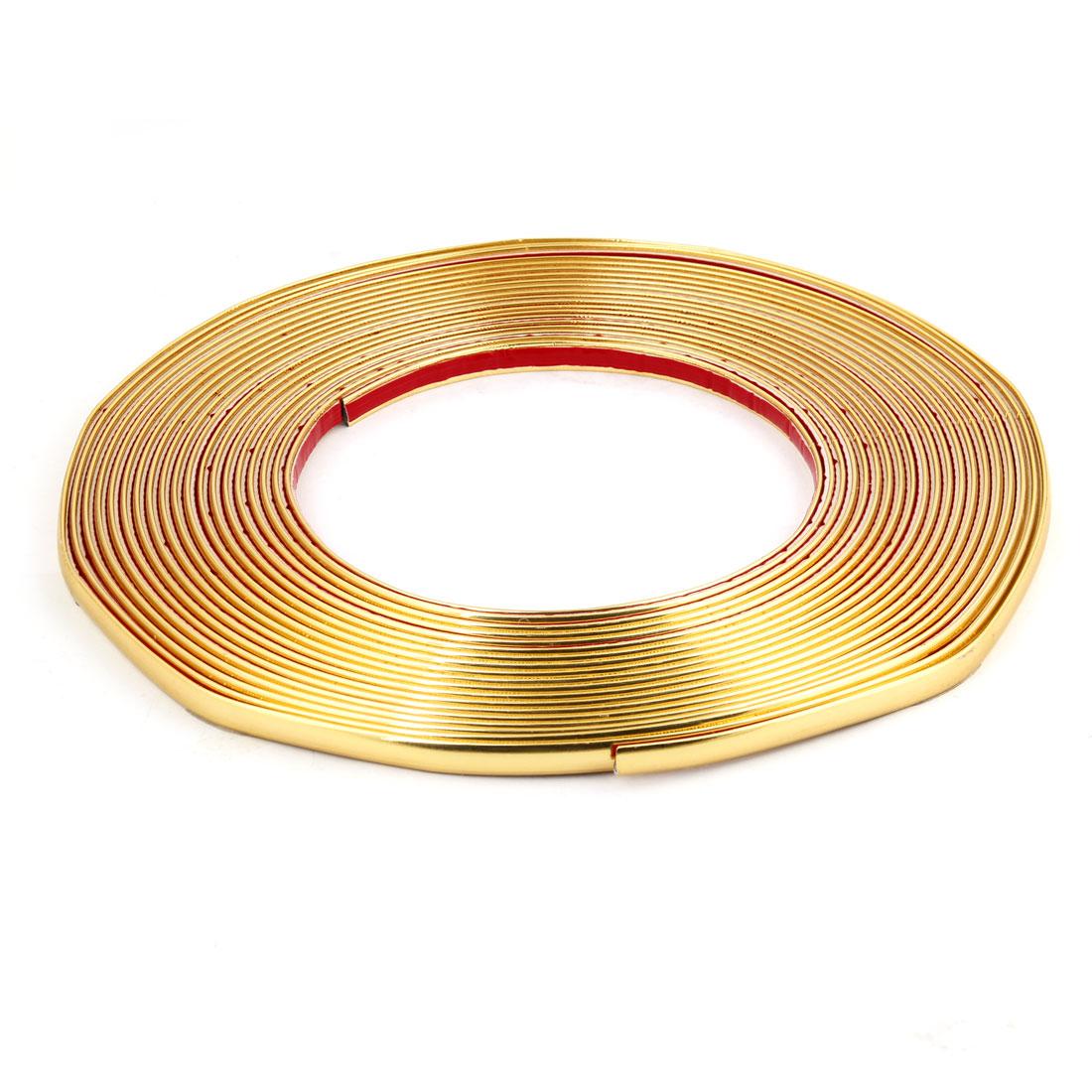 10mm x 15M Length Soft Plastic Vehicle Car Panel Moulding Trim Strip Gold Tone
