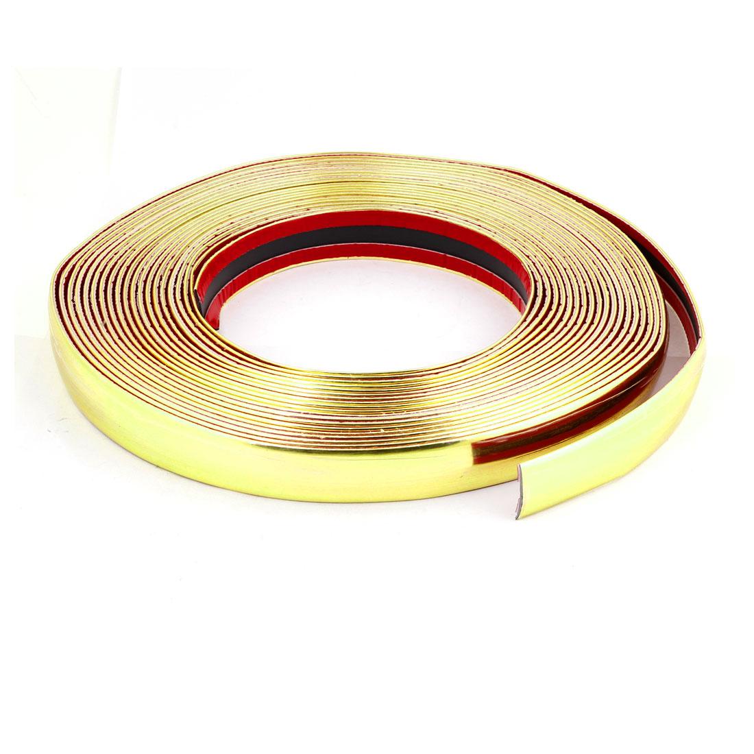 15M x 25mm Flexible Plastic Moulding Trim Strip Gold Tone for Auto Car