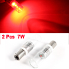 Pair Red BA9S 1156 LED Auto Car Rear Side Lamp Marker Light 7W 12V