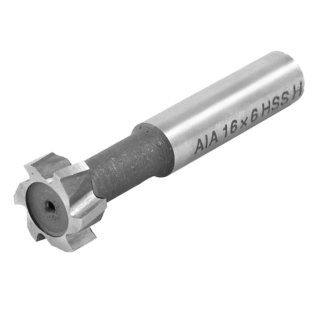 16mm Cutting Dia 6 Flutes HSS AL T Slot End Mill Milling Cutter