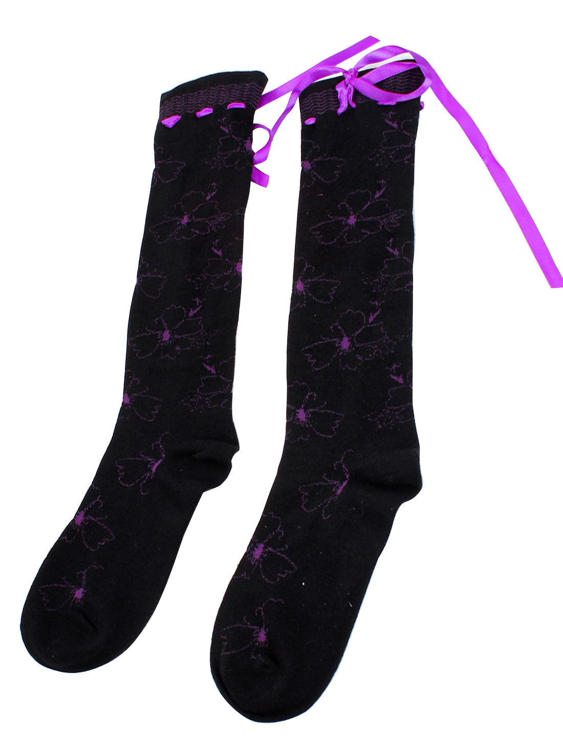 Women Purple Bowknot Detailing Stretchy Cuff Knee High Leg Warm Socks Black Pair