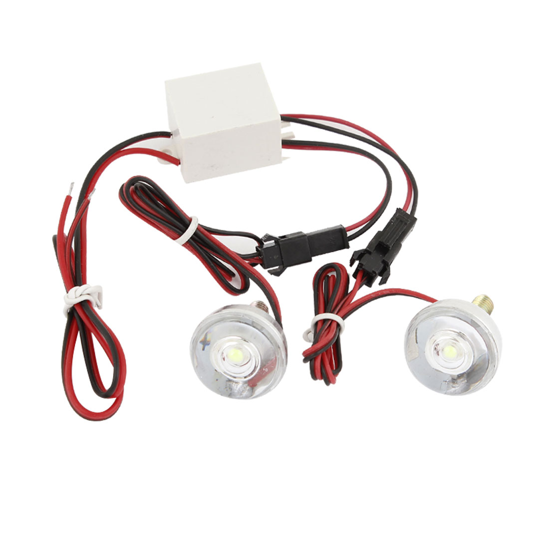2 in 1 Clear Round Casing White LED Motorcycle Flash Lights Lamps DC 12V