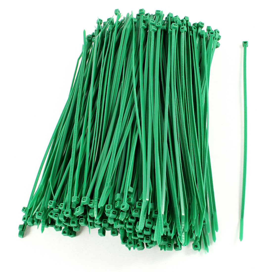 380 Pcs 4mm x 200mm Nylon Cable Wire Wrap Cord Zip Ties Straps Green