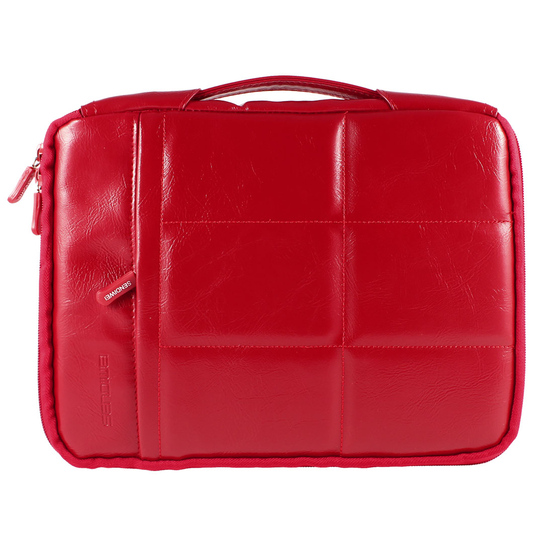 """Fleece Lining Sleeve Case Cover Handle Bag Red for 10.6"""" Tablet Laptop Netbook"""